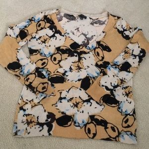 Sweater, lightweight brown floral print